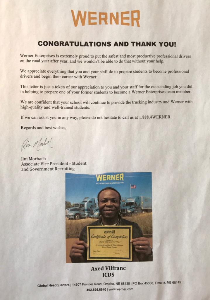 Werner Enterprises to ICDS Florida truck driving school